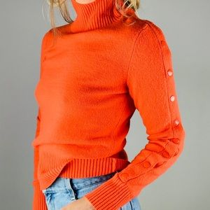 MOTH Orange Cotton Wool Button Turtleneck Sweater